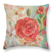 Roses And Flowers Throw Pillow