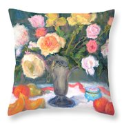 Roses And Fruit Throw Pillow