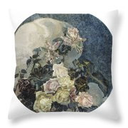 Roses And Orchids Throw Pillow