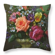 Roses And Pansies Throw Pillow