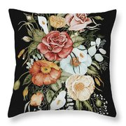 Roses And Poppies Bouquet Throw Pillow