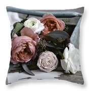 Roses And Rust Throw Pillow