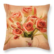 Roses And Tulips Throw Pillow