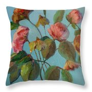 Roses And Wildflowers Throw Pillow