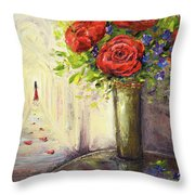 Roses And Woman Throw Pillow