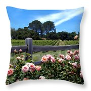 Roses At Rusack Vineyards Throw Pillow