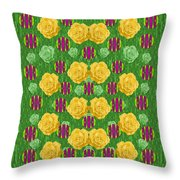 Roses Dancing On A Tulip Field Of Festive Colors Throw Pillow