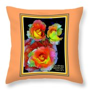 Roses For Anne Catus 1 No. 3 V A With Decorative Ornate Printed Frame. Throw Pillow