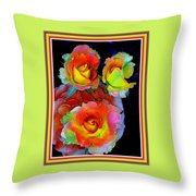 Roses For Anne Catus 1 No. 3 V B With Decorative Ornate Printed Frame. Throw Pillow