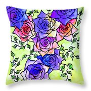 Roses Garden Throw Pillow