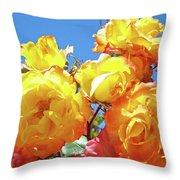 Roses Garden Summer Art Print Blue Sky Yellow Orange Throw Pillow