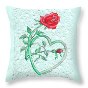 Roses Hearts And Lace Flowers Design  Throw Pillow