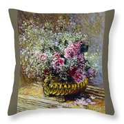 Roses In A Copper Vase Throw Pillow by Claude Monet