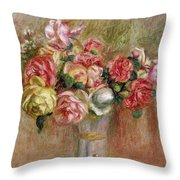 Roses In A Sevres Vase Throw Pillow by Pierre Auguste Renoir