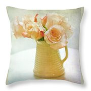 Roses In A Vase Still Life Throw Pillow