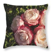 Roses In A Vase,on The Grass Throw Pillow