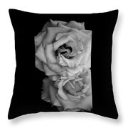 Roses In Black And White Throw Pillow