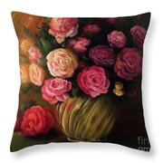 Roses In Brass Bowl Throw Pillow