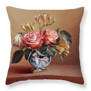 Roses In China Vase Throw Pillow