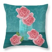 Roses In Clear Blue Jar Throw Pillow