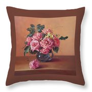 Roses In Glass Throw Pillow