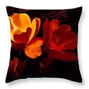 Roses In Molten Gold Art Throw Pillow