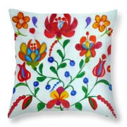 Roses In The Folk Style Throw Pillow