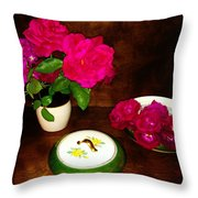 Roses In Vase And Bowl Throw Pillow