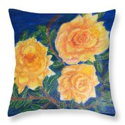 Roses In Yellow Throw Pillow