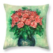 Roses Oil Painting  Throw Pillow