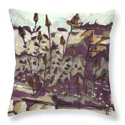 Roses On Hill Throw Pillow