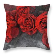 Roses On Lace Throw Pillow