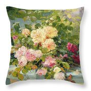Roses On The Bench  Throw Pillow