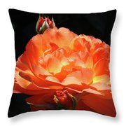 Roses Orange Rose Flowers Rose Garden Art Baslee Troutman Throw Pillow