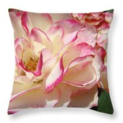 Roses Pink White Rose Flowers 4 Rose Garden Artwork Baslee Troutman Throw Pillow