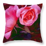 Roses Silked Pink Vegged Out Throw Pillow
