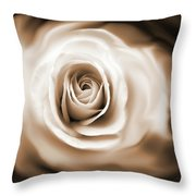 Rose's Whisper Sepia Throw Pillow