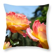 Roses Yellow Roses Pink Summer Roses 4 Blue Sky Landscape Baslee Troutman Throw Pillow