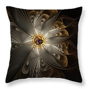 Rosette In Gold And Silver Throw Pillow