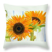 Rosezella's Sunflowers Throw Pillow