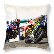 Rossi Leading The Pack Throw Pillow