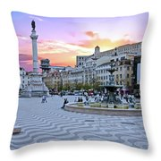 Rossio Square In Lisbon Portugal At Sunset Throw Pillow