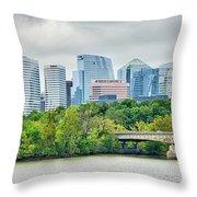 Rosslyn Distric Arlington Skyline Across River From Washington D Throw Pillow