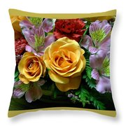 Rosy Bouquet Throw Pillow