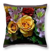 Rosy Bouquet Watercolor Throw Pillow