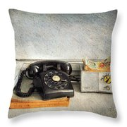 Rotary Dial Phone In Black S And H Stamps Throw Pillow