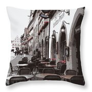 Rothenburg Cafe - Digital Throw Pillow