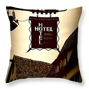 Rothenburg Hotel Sign - Digital Throw Pillow