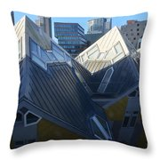 Rotterdam - The Cube Houses And Skyline Throw Pillow