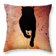 Rottie On Red Throw Pillow